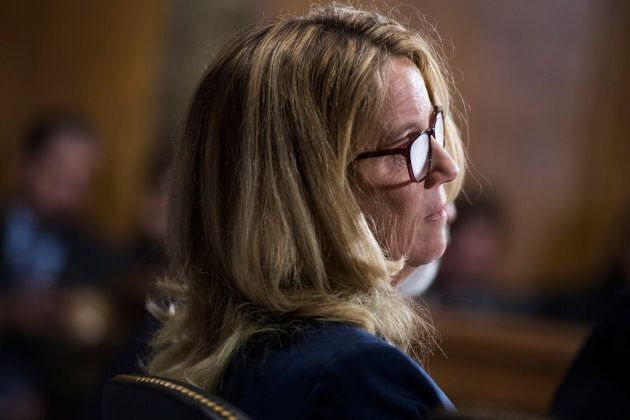 Christine Blasey Ford testifies during the U.S. Senate Judiciary Committee hearing on the nomination...