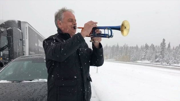 Professional trumpet soloist Jens Lindemann is shown on the Trans Canada Highway east of Canmore, Alta.,...