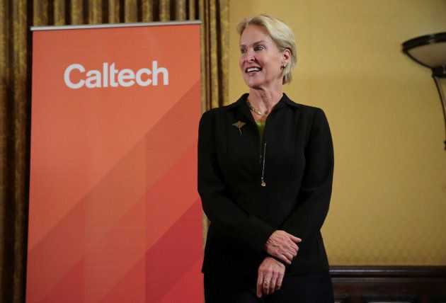Frances Arnold, winner of the 2018 Nobel Prize in Chemistry, attends a news conference at California...