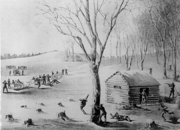 A depiction of the Battle of Duck Lake during the Riel