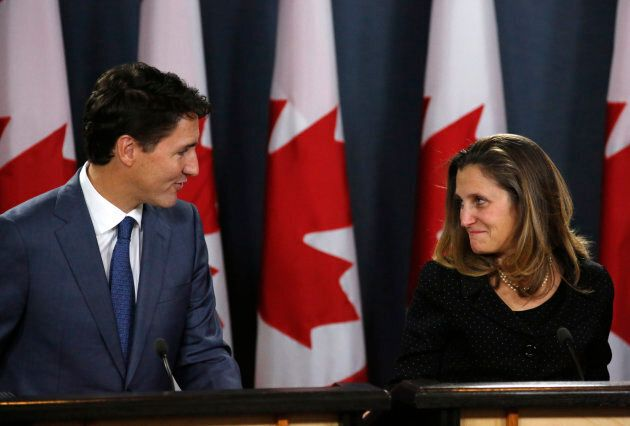 Canadian Prime Minister Justin Trudeau and minister of Foreign Affairs Chrystia Freeland announce the...