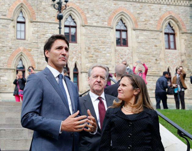 Canadian Prime Minister Justin Trudeau Canada's chief trade negotiator Steve Verheul and minister of...