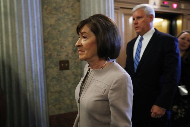 Senator Susan Collins, a Republican from Maine, arrives on Capitol Hill in Washington, D.C., U.S., on...