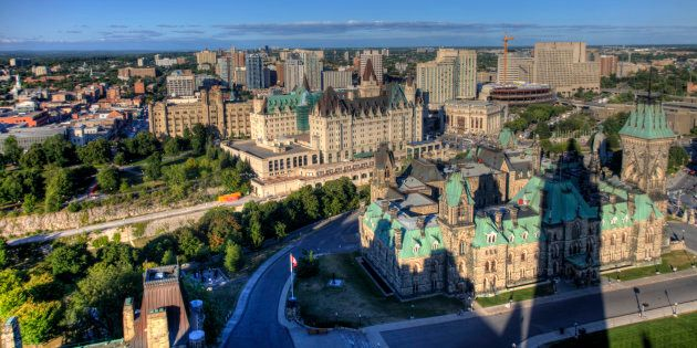 The tower on Parliament Hill's Centre Block casts a shadow on downtown Ottawa. The city ranks as the...