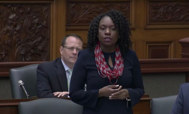 Liberal MPP Mitzie Hunter speaks during question period at Queen's Park in Toronto on Thursday.