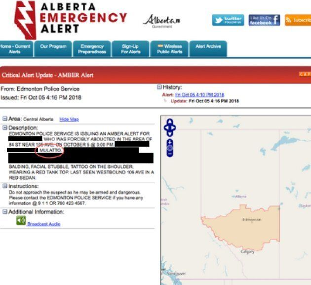 The Amber Alert sent out on Friday, with information about the alleged victim censored for her
