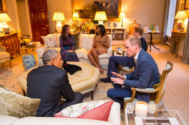 The Duke and Duchess of Cambridge hosted then-U.S. President Barack Obama and First Lady Michelle in the drawing room of their Kensington Palace home in April 2016. Prince Harry was also present.
