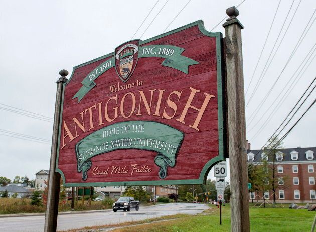 A sign welcomes visitors to Antigonish, N.S., home of St. Francis Xavier University, on Sept. 28,