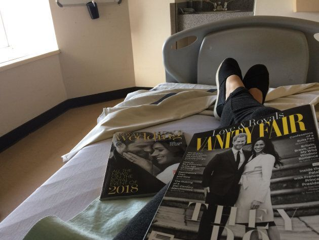 The author waiting to be prepped for her second D&C. Her surgery was the day before the Royal Wedding, and she's still bummed she had to miss work and never got to write about the Mulroney twins.