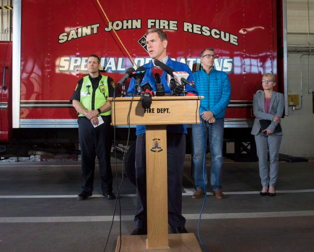 Kevin Scott, Irving Oil chief refining and supply officer, at a news conference about the explosion at...