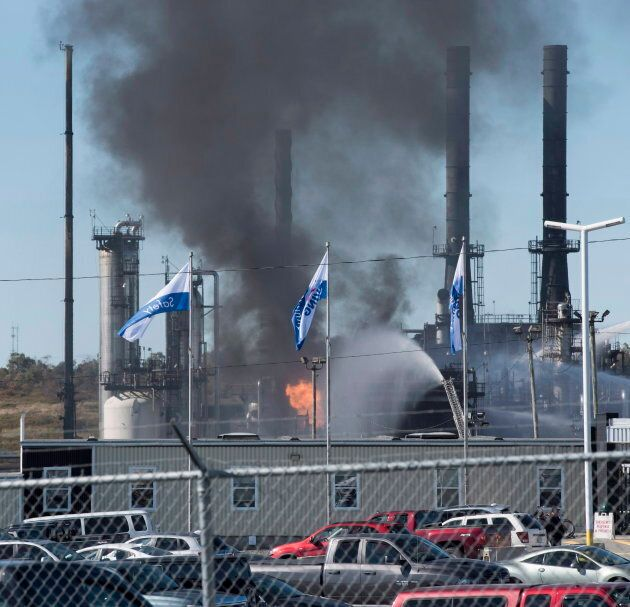 Flame and smoke erupts from the Irving Oil refinery in Saint John, N.B. on Oct. 8,