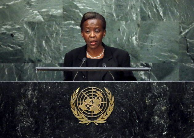 Foreign Minister Louise Mushikiwabo of Rwanda addresses a plenary meeting of the United Nations Sustainable...