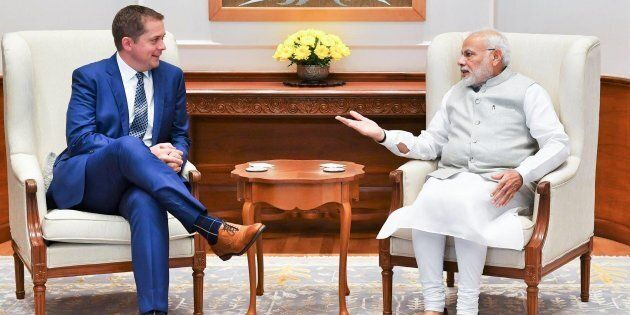 Conservative Leader Andrew Scheer and Indian Prime Minister Narendra Modi are shown in an image posted...