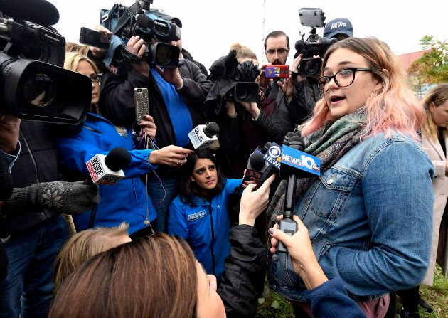 Karina Halse of Fort Ann, N.Y. talks to reporters about her sister, Amanda Halse, who died in Saturday's...