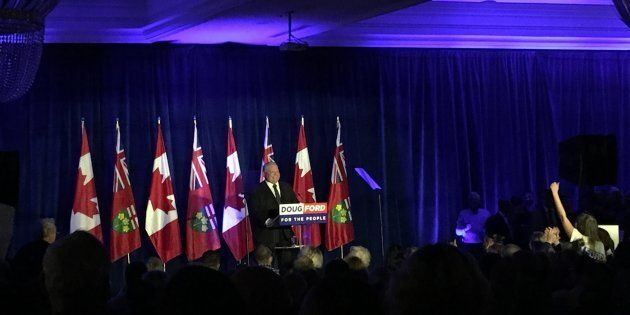 Ontario Premier Doug Ford speaks to supporters at a rally celebrating his first 100 days in office in...