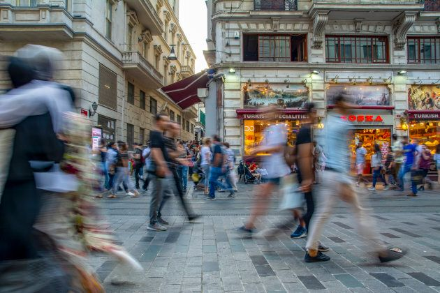 Taksim ISTANBUL, TURKEY - Agust 11 , 2018 : Long exposure or slow shutter speed and blurred image:Unidentified...