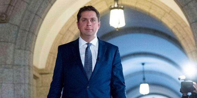 Conservative Leader Andrew Scheer is shown in the foyer of the House of Commons on Parliament Hill on Oct. 1, 2018.
