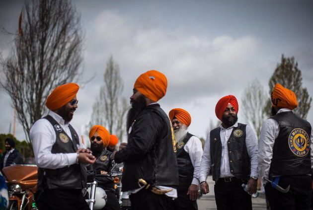 Sikh motorcycle club members in Vancouver, B.C. on April 14,