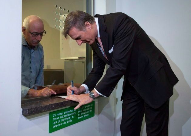 Maxime Bernier files his papers for the Peoples Party of Canada at the Elections Canada office in Gatineau,...