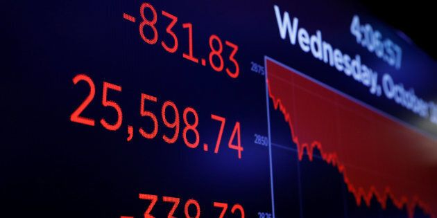 Final numbers for the Dow Jones industrial average are displayed after the close of trading on the floor...