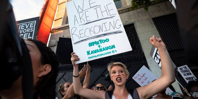 Activists with the MeToo movement in Los Angeles on Oct. 4,