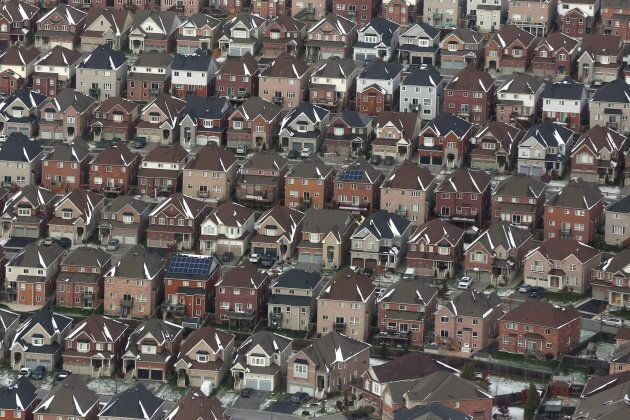 Aerial view of houses in Oshawa, Ont. on Nov. 11,