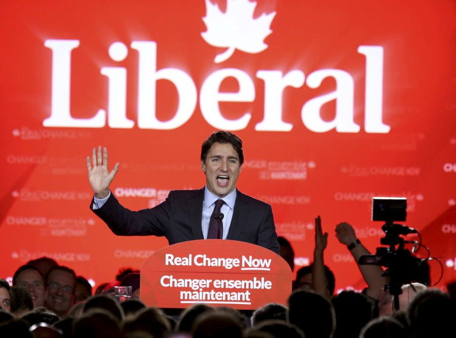 Justin Trudeau delivers his victory speech after Canada's federal election in Montreal on Oct. 19,
