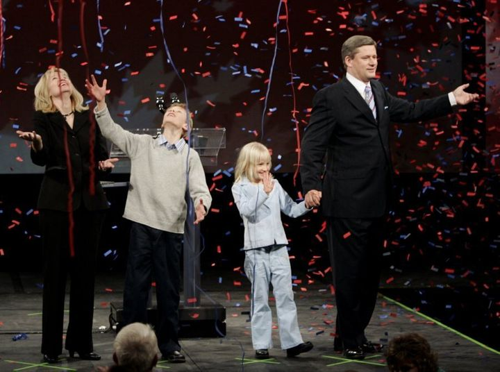 Conservative party leader Stephen Harper, pictured here on Jan. 23, 2006 with his wife Laureen and kids Ben and Rachel ,celebrate his minority government win in the Canadian federal election in Calgary.