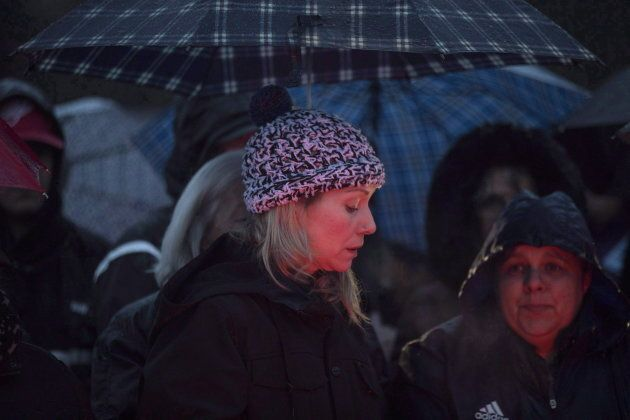 Kaden Young's mother, Michelle Hanson, at a vigil for her