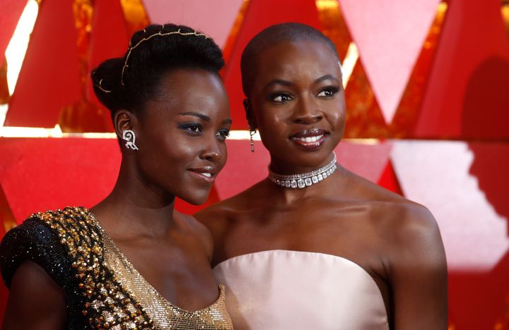 Lupita Nyongo poses with her Black Panther co-star and Danai Gurira at the 90th Academy Awards on March 4, 2018.