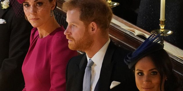 Britain's Catherine, Duchess of Cambridge, Prince Harry, Duke of Sussex, and Meghan, Duchess of Sussex...