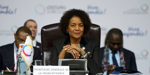Michaelle Jean takes part in a plenary session at the Francophonie Summit in Yerevan, Armenia on Oct....