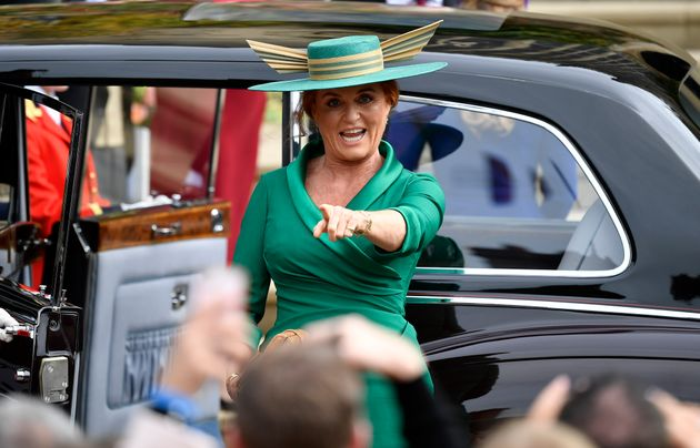 Sarah Ferguson arrives for the wedding of daughter Princess Eugenie of York and Jack Brooksbank in St...
