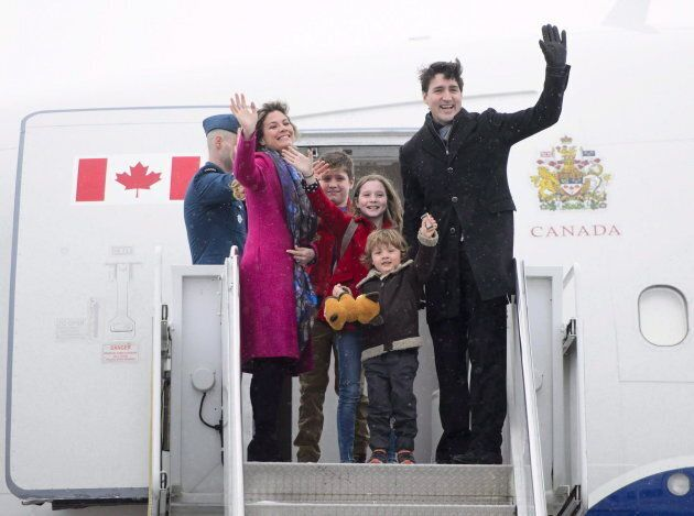 Prime Minister Justin Trudeau, right, departs Ottawa with his wife Sophie Gregoire Trudeau, left to right, and children Xavier, Ella-Grace and Hadrien on Feb. 16, 2018.