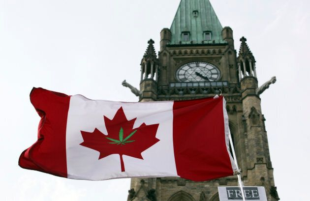 A protest for the legalization of marijuana on Parliament Hill in Ottawa on April 20,