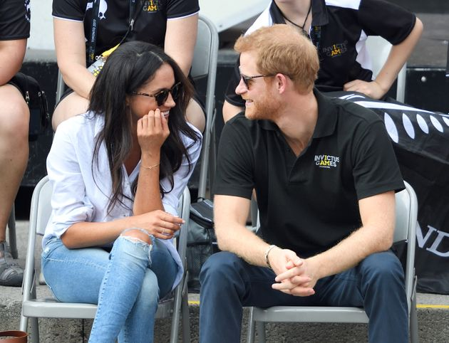 Meghan Markle and Prince Harry attend the Wheelchair Tennis on day 3 of the Invictus Games Toronto 2017...
