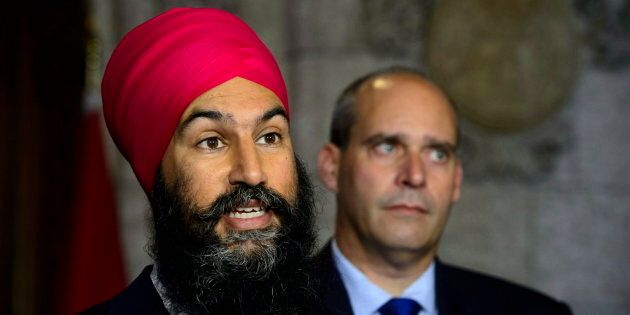 NDP Leader Jagmeet Singh NDP Parliamentary Leader Guy Caron speak to media on Parliament Hill on Sept....