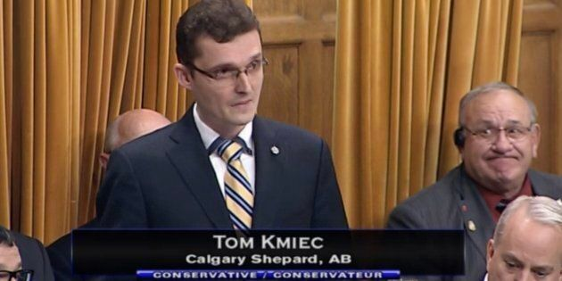 Conservative MP Tom Kmiec is shown in the House of Commons on Oct. 15,
