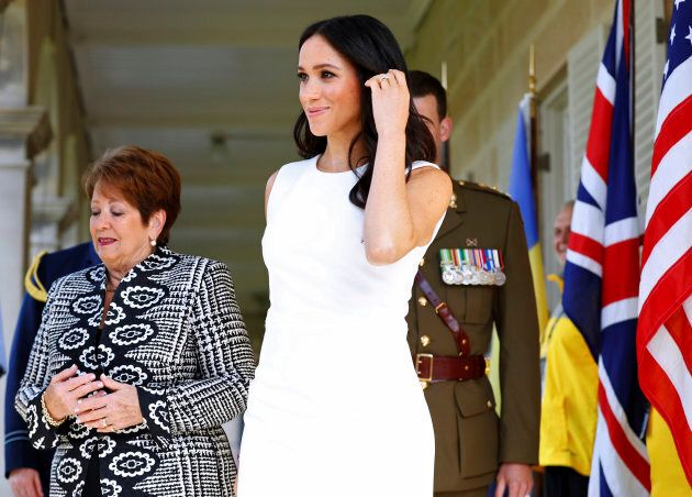 Britain's Duchess of Sussex arrives at Admiralty House in Sydney, Australia, Tuesday, Oct. 16, 2018....
