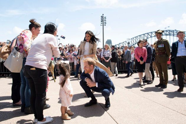 The duke and duchess greet the public at the Sydney Opera House.