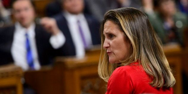 Minister of Foreign Affairs Chrystia Freeland stands during question period in the House of Commons on...
