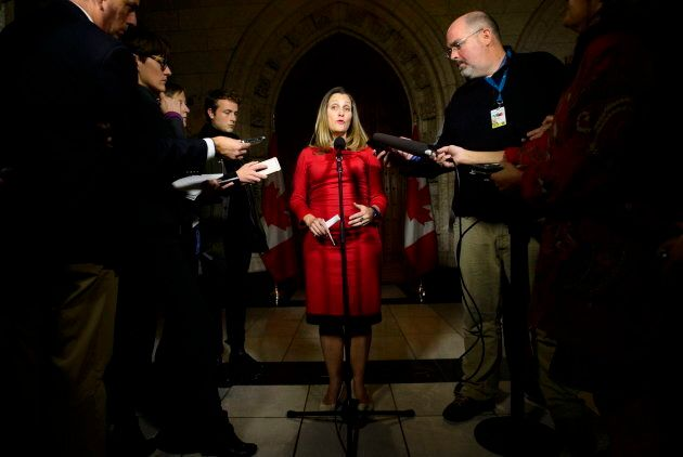 Foreign Affairs Minister Chrystia Freeland speaks to reporters on Parliament Hill in Ottawa on Oct. 15,