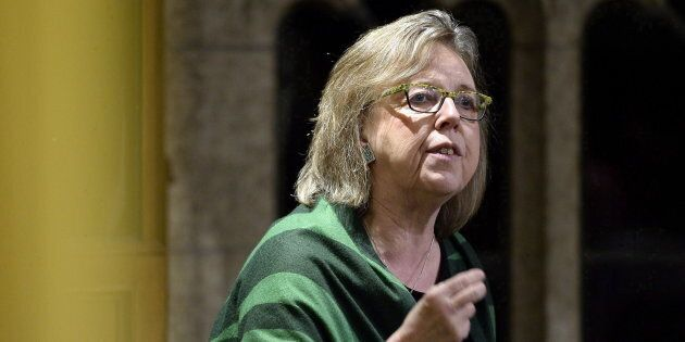 Green Party leader Elizabeth May speaks in the House of Commons on March 2,