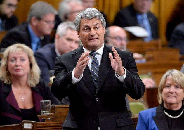 Conservative MP Gerard Deltell rises during question period in the House of Commons in Ottawa on Oct. 2, 2018.