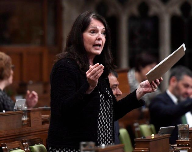 Conservative MP Cathay Wagantall asks a question during question period in the House of Commons in Ottawa...