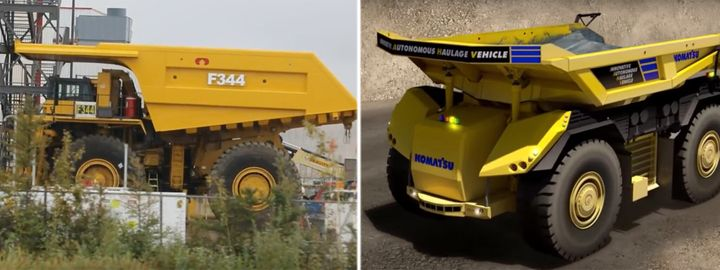 A photo of a manned heavy-haul truck in Alberta's oilsands, left, is shown next to a computer rendering of a next-generation unmanned version.