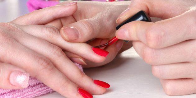 manicure process in beautiful...