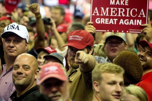 Supporters of U.S. President Donald Trump at a Make America Great Again rally at the Landers Center in...