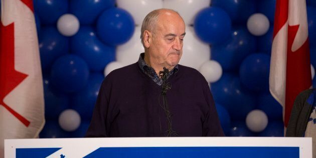 Former Conservative MP Julian Fantino speaks at his election night reception for in Vaughan on Oct. 19,