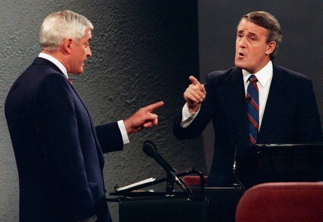 Then-Liberal Leader John Turner and Conservative Prime Minister Brian Mulroney point fingers at each...